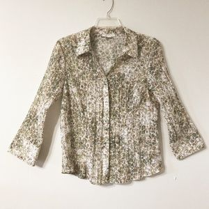 JM Collection Shirt Crinkle Fabric Button Front